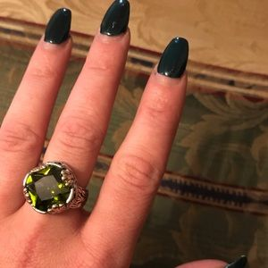 Green sparkle ring 18kgp over silver